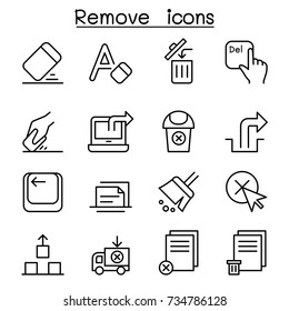 Remove, Erase, Delete icon set in thin line style