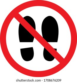 Remove footwear warning sign board. Shoes, sandals and slippers not allowed. Perfect for backgrounds, backdrop, sticker, label, sign, icon, symbol, poster and wallpaper.
