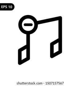 Remove music item icon. Vector illustration logo template. Eps 10