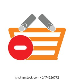 remove shopping basket icon. flat illustration of remove shopping basket vector icon. remove shopping basket sign symbol