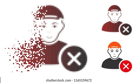 Remove user icon with face in sparkle, pixelated halftone and undamaged entire variants. Particles are organized into vector dissolving remove user shape.