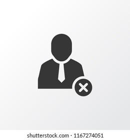 Remove worker icon symbol. Premium quality isolated delete user element in trendy style.