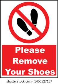 remove your shoes red sign