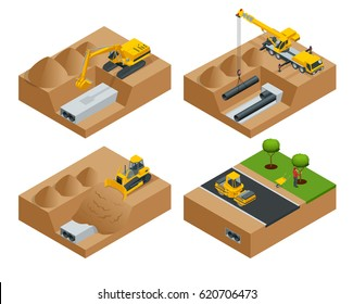 Removing the asphalt road damaged during a water main failure. Laying of new pipes. Road repair concept. Flat 3d vector isometric illustration.