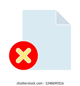 removing document icon - paper and delete sign in circle. Paper design. close symbol