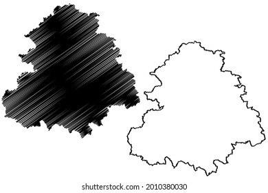 Rems Murr district (Federal Republic of Germany, rural district, Baden-Wurttemberg State) map vector illustration, scribble sketch Rems-Murr-Kreis map