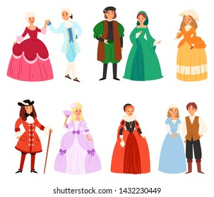 Renaissance clothing vector woman man character in medieval fashion vintage dress historical royal clothes illustration baroque set of people in artistic costume cloth isolated on white background