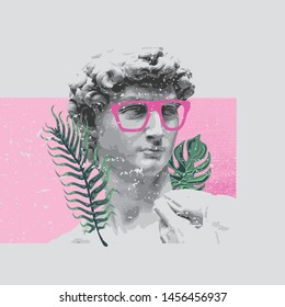 renaissance david sculpture stylish t-shirt and apparel trendy design with pink glasses, palm trees, print, vector illustration. Global swatches.