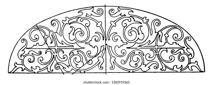 Renaissance Elliptic Panel was typically found as a design on the covers of books, vintage line drawing or engraving illustration.