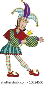 A renaissance jester holding a wand and pointing to something on his left