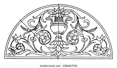 Renaissance Lunette Panel is an intarsia design, vintage line drawing or engraving illustration.