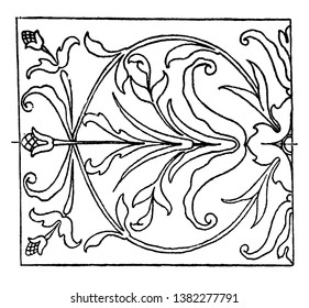 Renaissance Oblong Panel is an intarsia or wood inlay design, vintage line drawing or engraving illustration.