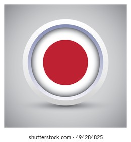 Rendering of Japan button with flag on gray background