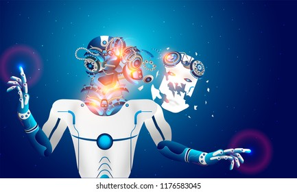 Rendering robot dismantled itself, Ai brain fails oe overloaded and destroyed, Futuristic technology concept.