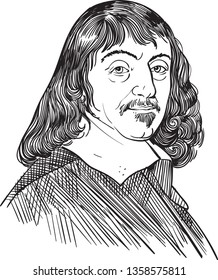 Rene Descartes (1596-1650) portrait in line art illustration. He was a French mathematician, scientist and philosopher who has been called the father of modern philosophy.