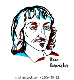 Rene Descartes engraved vector portrait with ink contours. French philosopher, mathematician, and scientist.