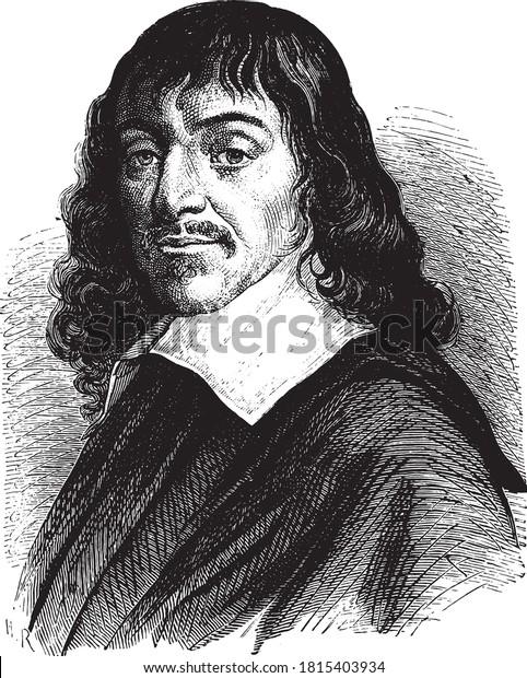Rene Descartes, Vintage engraving. From Popular France, 1869.