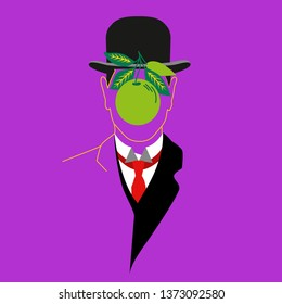Rene Magritte. Cartoon character. Vector Illustration