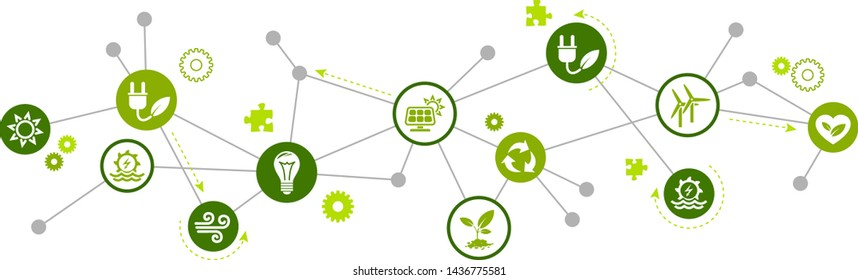 renewable / alternative energy icon concept – green electricity sources icons – vector illustration