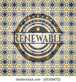 Renewable arabesque emblem. arabic decoration.