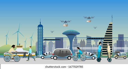 Renewable electrified city transport concept in near future. Driverless vehicles and drones for light deliveries. Electric bikes, Monorail trains and Self-Balancing Electric Transporter. Vector Ill.