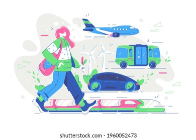 Renewable electrified city transport vector illustration. Electric public transport, car, bus, train, airplane flat style. Eco technology for public transport environment concept. Isolated on white