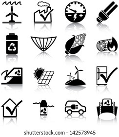 Renewable energies and energy efficiency related icons/ silhouettes.
