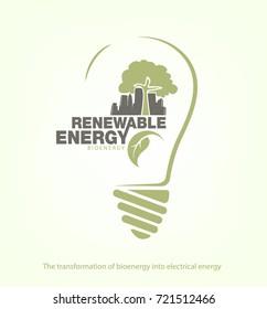 Renewable energy of bioenergy in bulb. The concept of ecology