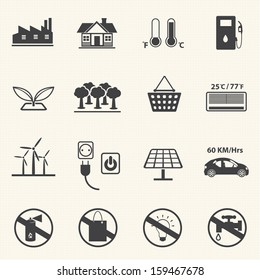 Renewable Energy and Ecology icon set