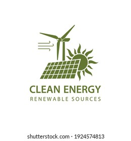 renewable energy icon with wind turbine, solar panel and sun isolated on white background