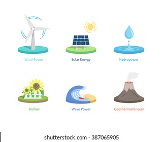 Renewable energy icons & elements. Solar Energy, Hydro power, Wind Power, Wave Power, Bio fuel and Geothermal Energy. vector illustration.