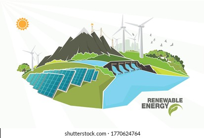 renewable energy infographics with elements of the water of the sun wind and earth. Vector illustration