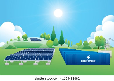 Renewable energy power plants. Vector illustration of green energy