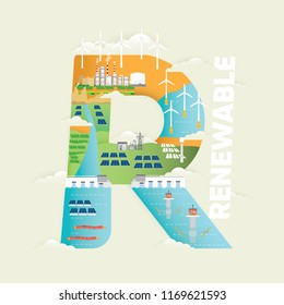 Renewable energy in r letter with hydro, wind, wave, tidal and solar energy
