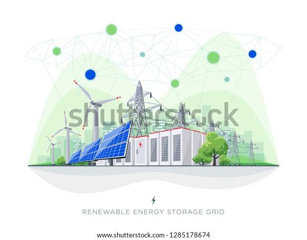 Renewable Energy Smart Grid Blockchain Connected Stock Vector Royalty Free 1285178674