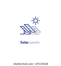 Renewable energy, solar panels station concept, green electricity, vector line icon