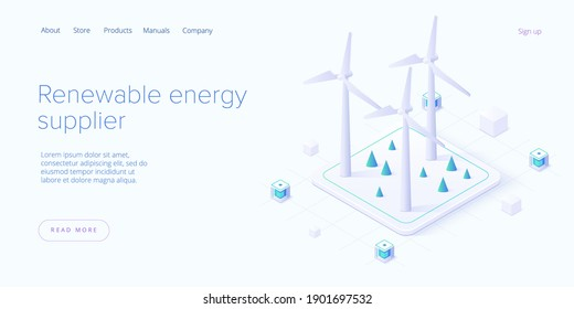 Renewable energy sources concept in isometric vector illustration. Solar electric panels and wind turbines. Sustainable power plants for clean environment. Web banner layout template design.