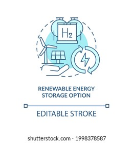 Renewable energy storage option concept icon. H2 technologies benefit abstract idea thin line illustration. Converting water to hydrogen fuel. Vector isolated outline color drawing. Editable stroke