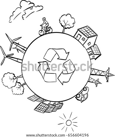 Renewable Energy Symbols Arranged Circle Wind Stock Vector Royalty