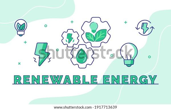 renewable energy typography calligraphy word art with outline style