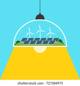 Renewable and green energy concept flat design, vector illustration