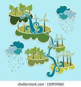 Renewable resources green, trees, clouds, rain, wind turbines and curly waterfall illustration. Vector layered for easy editing.