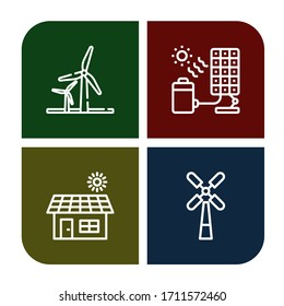 renewable simple icons set. Contains such icons as Wind energy, Solar cell, Solar, Windmill, can be used for web, mobile and logo