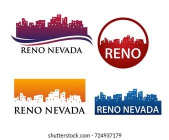 Reno Nevada City Skyline Logo Template