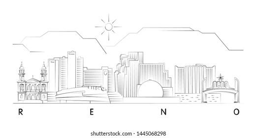 Reno, Nevada skyline minimal linear vector illustration and typography design