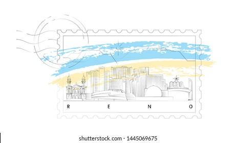 Reno, Nevada skyline stamp vector illustration and typography design