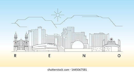 Reno, Nevada skyline vector illustration and typography design