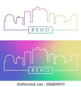 Reno skyline. Colorful linear style. Editable vector file.
