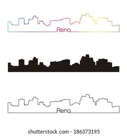 Reno skyline linear style with rainbow in editable vector file