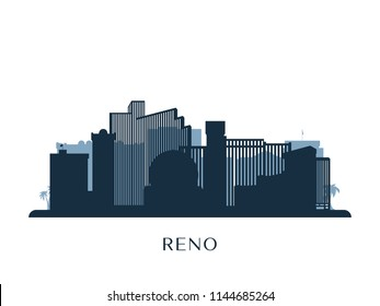 Reno skyline, monochrome silhouette. Vector illustration.